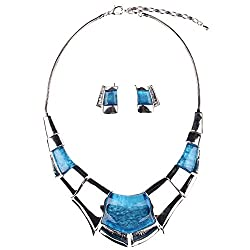 Girl Era Sexy Luxury Egyptian Style Chunk Collar Necklace & Earring Set(blue)