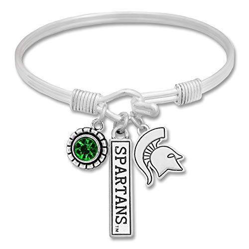 (Lola Bella Gifts FTH Licensed Michigan State Spartans College University Bangle Bracelet with Gift Box)