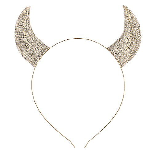 Lux Accessories Gold Tone Faux Rhinestone Devil Horn Costume Cat Ear Headband