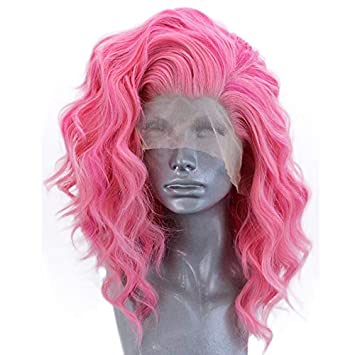 24 Inches Fashion Hair Braids Cute Ash Pink Orange Wavy Synthetic Lace Front Wig