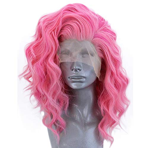 Pink Lace Front Wigs Long Curly Synthetic Color Lace Wig Hair Replacement Wigs for Women 24 Inches (Pink) (a)