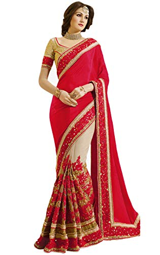 Nivah Fashion Women's Satin & Net Half & Half Embroidery work With Real Diamond's Material Saree K663(Red)