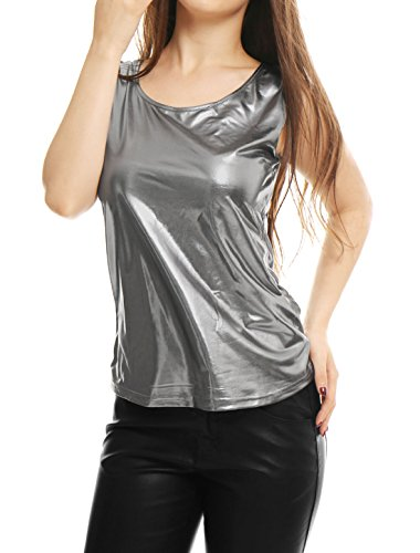Allegra K Women's U Neck Stretchy Slim Fit Shiny Metallic Tank Top Silver Gray M (US 10)