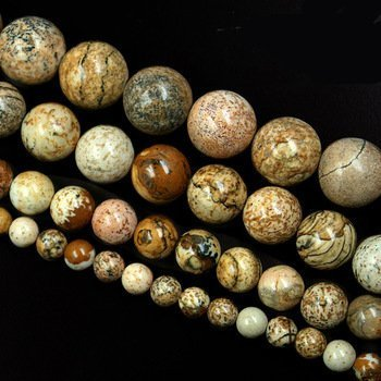 HYBEADS Brown Round Picture Jasper Beads Natural Stone Beads 8mm One Strand 15