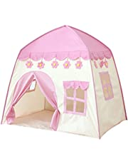 Kids Playhouse Tent - Soft Oxford Fabric Big Play House with 3 Mess Windows, Comes with Storage Carrying Bag, Indoor Outdoor Toy Gift for Children Boys & Girls