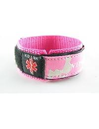 MyIDDr- Kids, Child, - PINK - Girls Medical Alert ID Bracelet, Adjustabe - Free Medical ID Wallet Card Incld. Made in USA