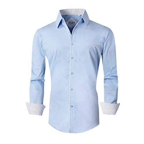 (Alex Vando Mens Dress Shirts Long Sleeve Regular Fit Casual Men Shirt(Blue,XLarge))