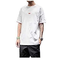 Men's Crew Neck Lounge Summer Short Sleeve Oversize Top Tees Polo