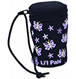Li'l Pals Waste Bag Dispenser, Black with Pink and Lavendar Butterflies, One Size