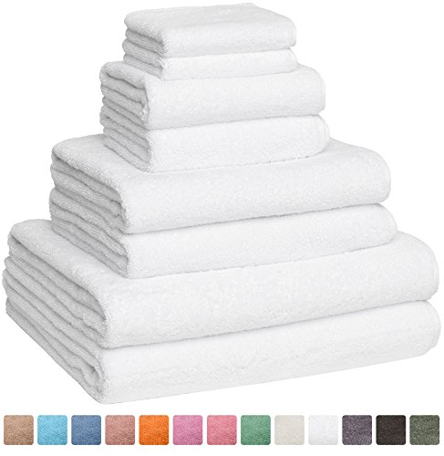 Fast Drying Extra Large Bath Towel Set, Decorative & Luxury Premium Turkish Cotton Towels for Clearance - Spa & Hotel Quality - Pack of 8 including 2 Oversized Bath Sheets (30x60) - White - Taupe Hotel Spa Collection