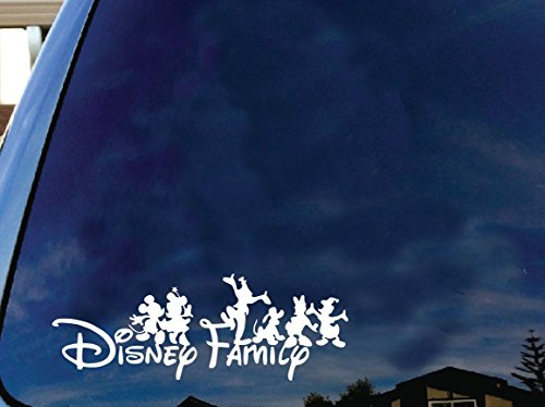 Price comparison product image Disney family Mickey and friends car truck SUV mac book laptop tool box wall window decal sticker approx. 6 inches white