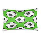 ALAZA Sport Football Soccer Ball Green Cotton Lint Pillow Case,Double-sided Printing Home Decor Pillowcase Size 16''x24'',for Bedroom Women Girl Boy