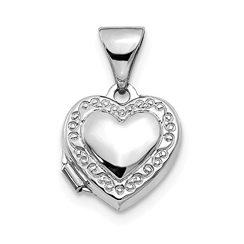 (Real 14kt White Gold Polished Heart-Shaped Scrolled)