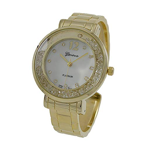 Gold Tone Floating Crystal Watch - Covet Women's 'Martha' Gold Tone Floating Crystals with Mother of Pearl Dial Quartz Cuff Watch