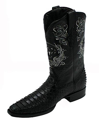 ne Python Skin Leather Cowboy Square Toe Western Boots_Black_9 (Python Skin Leather)