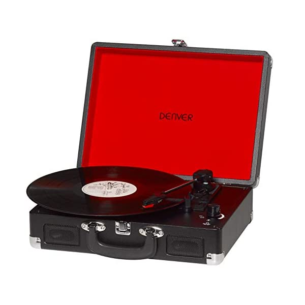 Denver VPL-120 Black 3 Speed Vinyl Record Player with Stereo Speakers, Suitcase / Briefcase Style