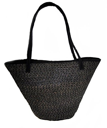 Woven Bag Sequined Rattan Beach Lined High Cm 49 34 Shoulder Bag Wide aXaOrq
