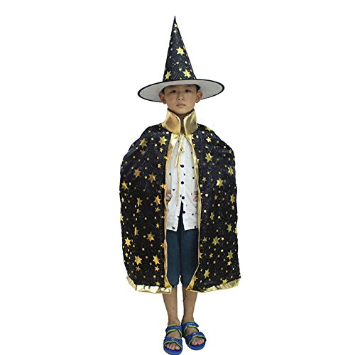 Baiyu Children Halloween Magic Cloak Hat Costumes Satin Vampire Witch Star Cape Hat Shawl Fancy Dress Devil Robe Wrap Puncho Mantle for Halloween Party Cosplay Playwear - Black