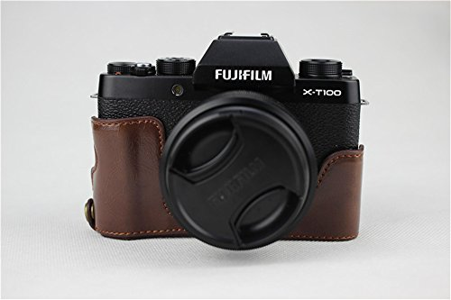 X-T100 Case, BolinUS Handmade PU Leather Half Camera Case Bag Cover Bottom Opening Version for Fujifilm Fuji X-T100 XT100 With Hand Strap -Coffee