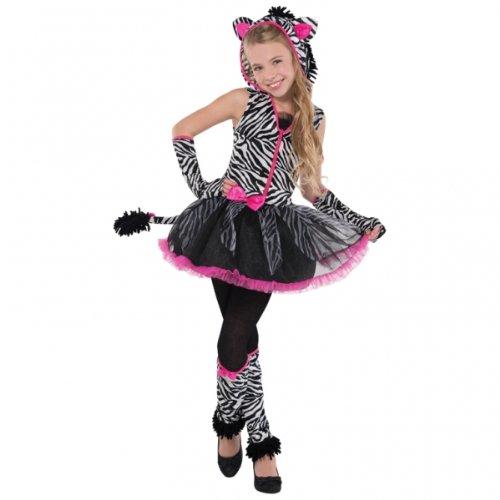 12 - 14 Years Girl's Sassy Stripes Zebra Costume
