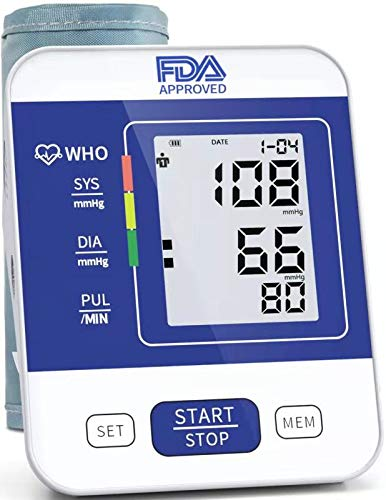 COOCEER Upper Arm Digital Blood Pressure Machine Approved by FDA with 2 Users 198 Memory,Automatic Heart Rate Pulse Monitor with Large Screen Display Home Use Care Device