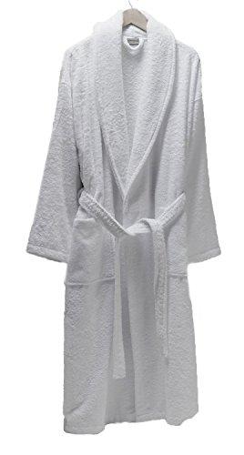 SALBAKOS Luxurious 100% Turkish Combed Cotton Terry Bathrobe, White, Small (Terry French Robes)