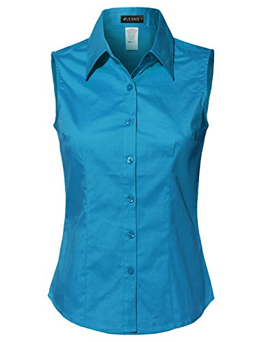 LE3NO Womens Lightweight Cotton Sleeveless Button Down Shirt Turquoise