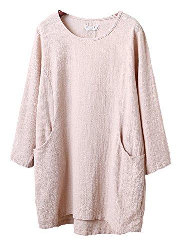 Womens Linen (Minibee Women's Cotton Linen 4/5 Sleeve Tunic/Top Tees Apricot M)