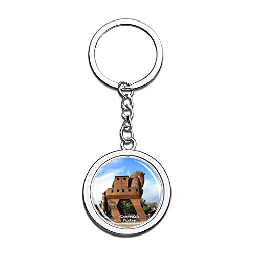 Troy Horse Canakkale Turkey Keychain 3D Crystal Spinning Round Stainless Steel Keychains Travel City Souvenir Key Chain Ring