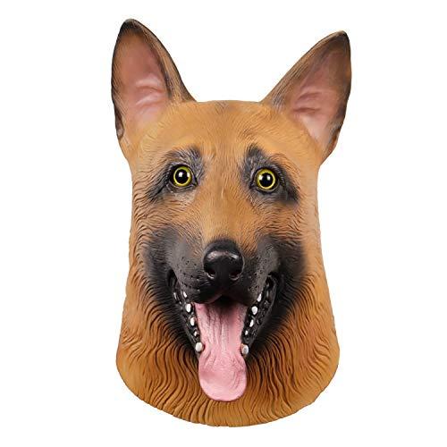Waylike Novelty Halloween Costume Dog Mask Super Bowl Eagles Underdog Mask Latex Animal Full Head Mask German Shepherd Brown