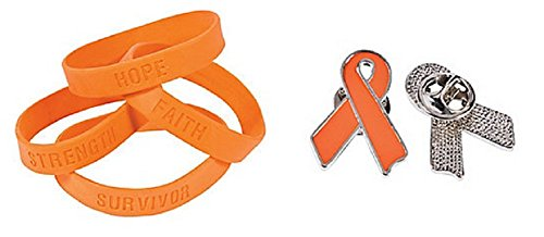 Orange Ribbon Pin and Bracelet Set (36 Pcs) ()