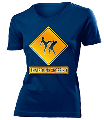 THAI BOXING CROSSING mujer camiseta Tamaño S to XXL varios colores marina / Blanco