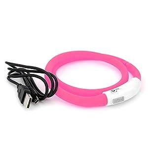 PRECORN LED USB Silicona Collar de Perro Luminoso Rosado Collar Seguridad Cuello Tubo Recargable