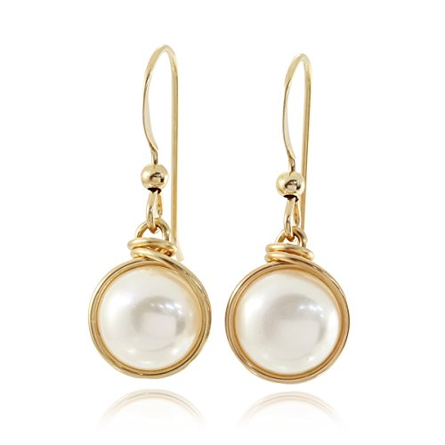 (Hand Wrapped Cultured Pearls 14k Gold Filled Earrings Wedding Jewelry Bridal or Bridesmaids Gifts, 8 Mm)
