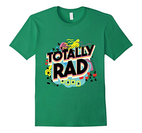 Mens Retro Totally Rad 1980s Neon Party 80s Gift Tshirt Large Kelly Green
