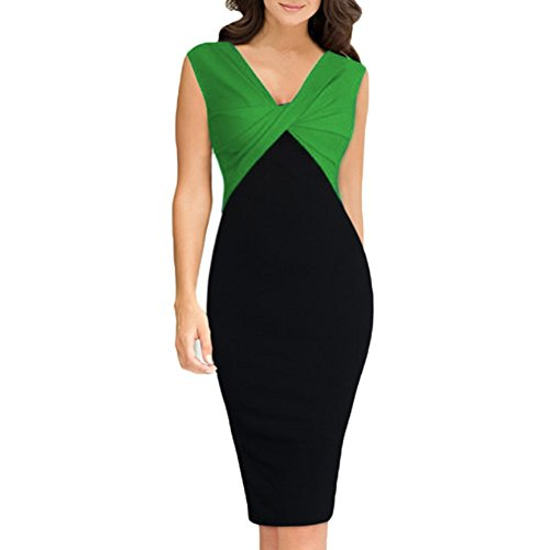 Women's Sleeveless  Work Party Pencil Dresses (Large, Green)