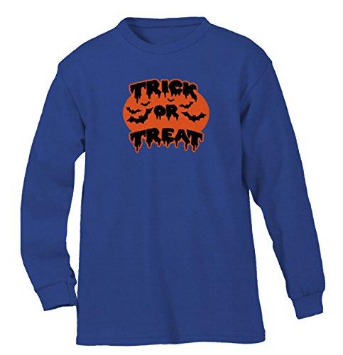 Trick Or Treat Bats Men's Long Sleeve Shirt, SpiritForged Apparel, Royal 3XL (Spirit Halloween Sf)