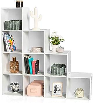 IDMarket – Mueble escalera 4 niveles madera blanco fondo blanco: Amazon.es: Bricolaje y herramientas