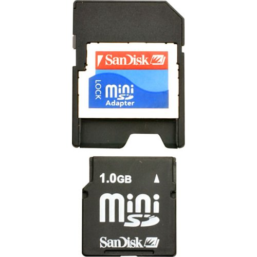 SanDisk 1GB miniSD Card (SDSDM-1024-A10M, Retail (1gb Minisd Secure Digital Memory)