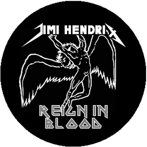Badge Button Pin Ironic Jimi Hendrix Metallica Led Zeppelin Slayer Iron Maiden