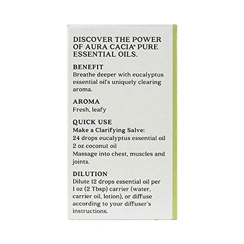 Aura Cacia Discover Essential Oil- Eucalyptus | Clearing Benefit with Fresh, Leafy Aroma | 0.25 fl oz.