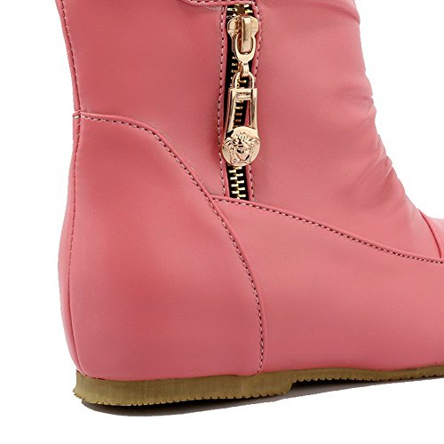 AllhqFashion Mujeres Mini Tacón Material Suave Caña Baja Sólido Botas con Metal Rosa