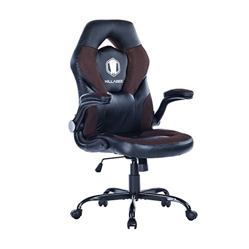 KILLABEE Racing Style Gaming Chair Flip Up Arms   Ergonomic Leather U0026 Mesh  Computer Desk