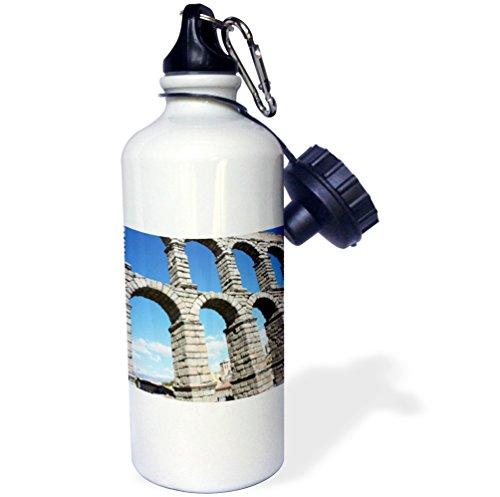 3dRose wb_100289_1 ''Aqueduct of Segovia, Famous Roman Aqueduct Segovia, Spain'' Sports Water Bottle, 21 oz, White by 3dRose