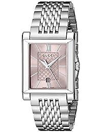 Gucci G-Timeless Rectangle Analog Display Swiss Quartz Silver Men's Watch(Model:YA138502)