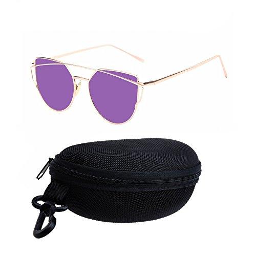 gafas Marco en Retro de funda la de de gafas metal lentes Ojo CAT con AOLVO sol de sol mujer calle sol de de soporte gold para moda mujeres eye gato negro Purple Gafas negro espejo UV400 wFqYwgz7