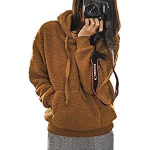 Angashion Womens Long Sleeve Half Zip Fuzzy Fleece Hooded Pullover Jacket Outwear Sweatshirt Tops Coat with Pocket 329…