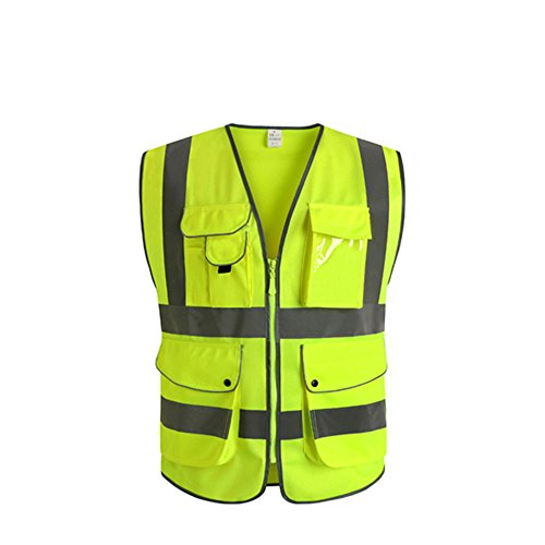 Visibility Vest - J.K 9 Pockets Class 2 High Visibility Zipper Front Safety Vest With Reflective Strips, Yellow Meets ANSI/ISEA Standards (Large)