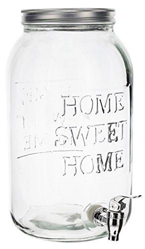 Lucky Winner 2 Galloon Glass Mason Jar Drink Dispenser with Metal Spigot Home Sweet Home -