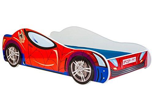 Lettino per bambini letto auto SPIDER CAR 160x80 con materasso KOBI